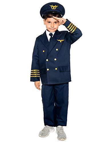 Maskworld Realistisches Piloten Kinder-Kostüm - Verkleidung Uniform Anzug für kleine Flugzeugführer - Karneval Fasching & Halloween - Größe 104 (Flugzeug Piloten Kostüm Kinder)