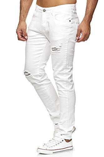 Red Bridge Herren Jeans Hose Slim-Fit Röhrenjeans Denim Destroyed M4235 Weiß W34L32 -