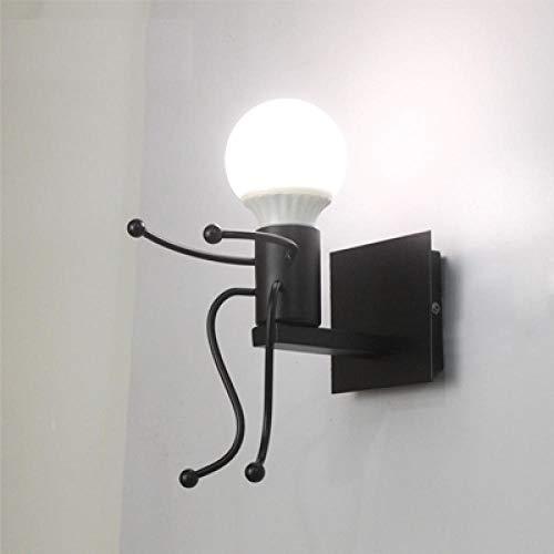 Aplique de brazo largo Pequeño hombre de hierro, luces de pared pequeñas para el hogar, lindos fósforos...