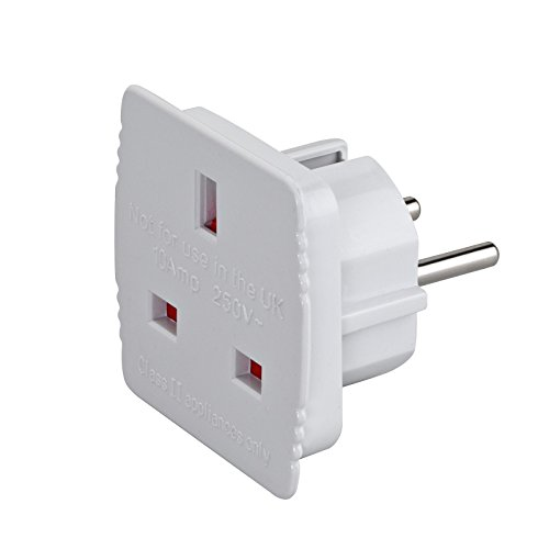 2-TECH Reisestecker-Adapter UK-Deutschland, Weiss