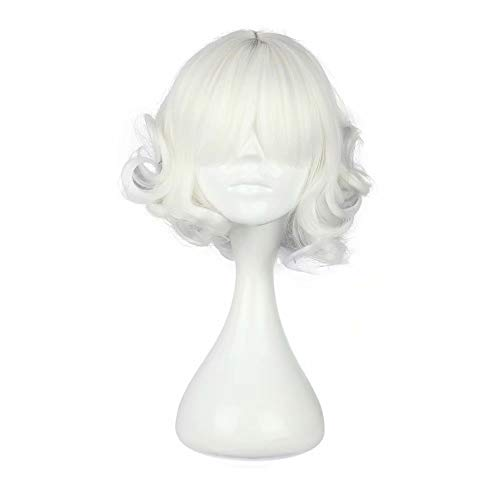 Mädchen Kostüm Rose Weiße - NiceLisa Mädchen Kind Schöne Locken Wellenförmige Weiße Anime Convention Halloween Disguise Kostüm Cosplay Volle Perücken