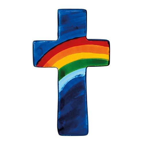 Handschmeichler Taschenkreuz aus Speckstein mit Buntem Regenbogenmotiv (blau)
