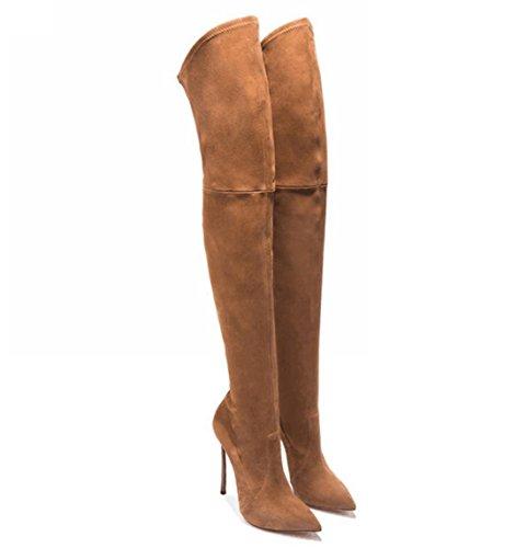 YCMDM Femmes Mode Nouvelles Mesdames 35-43 Grande Taille Pointé Bottes à talons hauts de genou-longueur Brown