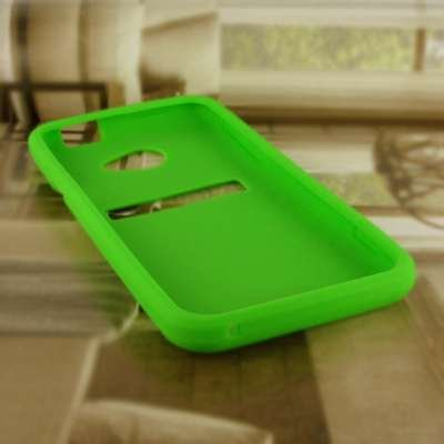 EMPIRE Sprint HTC EVO 4G LTE Silicone Skin Case Étui Coque Cover Couverture (Vert Fluo) + Voiture de pare-brises + Invisible Films de protection d'écran