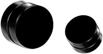 Smile YKK Pendiente Unisex de Imán Forma de Ronda Acero de Titanio Negro