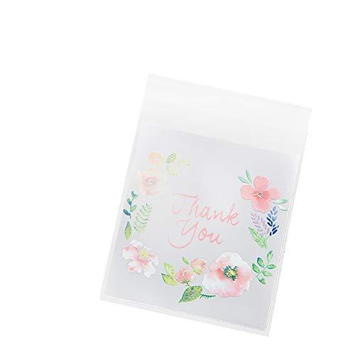 Westeng 100 Stück Süßigkeiten Tasche Selbstklebend Plätzchen Bonbons Tüten Flachbeutel Gebäck Plastiktüten Geschenk Tüten für Weihnachten Danksagung Size 10 * 10+3cm