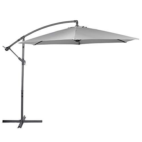 VonHaus Sonnenschirm Ampelschirm 300 cm - Überhängender Sonnenchirm mit Kurbelvorrichtung - UV50+ Schutz - Starker Stahl (Grau)