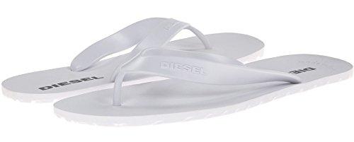 Diesel Plaja Splish White Grey Mens New Summer Beach Flip Flops-8 (Diesel Herren Thong)