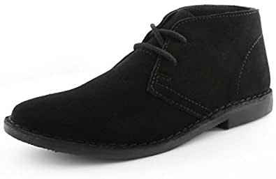 Red Tape Gobi Mens Leather Desert Boots Black - Black - UK SIZE 7