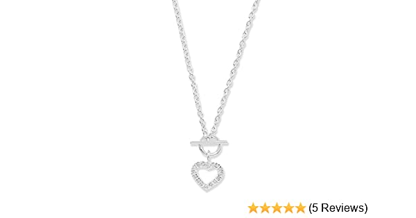 945e1dc8c Sterling Silver 925 Cubic Zirconia Heart T Bar Necklace 46 cm / 18 inch:  Amazon.co.uk: Jewellery