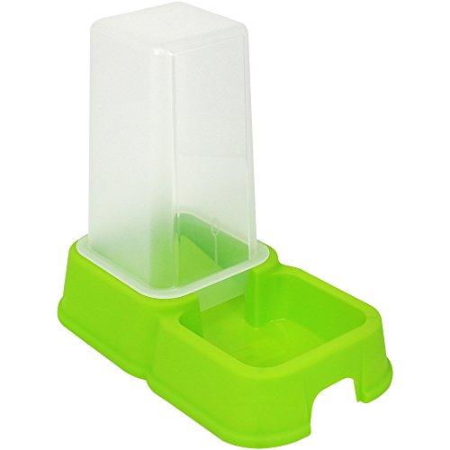 COM-FOUR® Dispensador de agua y alimentación para mascotas de 1,5 litros, recipiente de alimentación automático en verde para perros y gatos, 26,2 x 24 x 15,4 cm (01 pieza - verde)