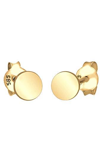 Elli Premium Ohrringe Damen Ohrstecker Kreis Geo Trend Minimal Filigran in 585 Gelbgold