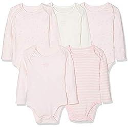 Mothercare G M&d 5pk Bodysuits LS Body, (Pink 130), 0-3 Months (Size:62) para Bebés