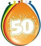 Folat 8 Luftballons Zahl 50 Geburtstag bunt