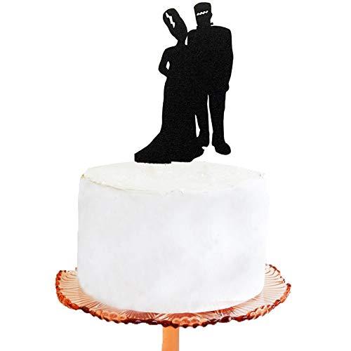 Tortenaufsatz für Hochzeitstorten – Halloween, Hochzeitstorte, Frankenstein-Silhouette