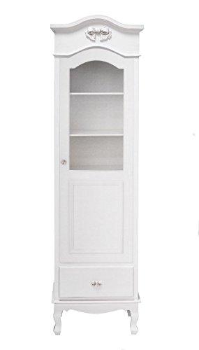 Vetrina bianca in legno stile vintage con pomelli a forma di fiocco L'ARTE DI NACCHI DS-59
