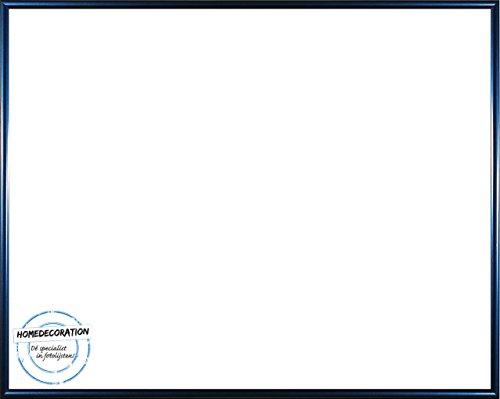 Amsterdam Bilderrahmen Posterrahmen Blau Metallic 69 x 97 cm hochwertiger Kunststoff mit unzerbrechlichem glasklarem APET Kunstglas UV beständig 97 x 69 cm