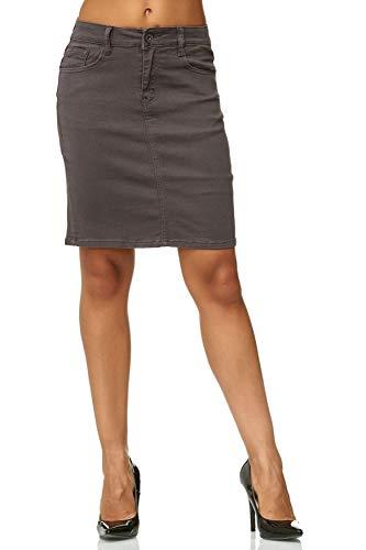 Damen Rock Jeans Optik Knielang Stretch Midi Skirt Plus Size, Farben:Grau, Größe Damen:38 - Frauen Für Size Jean-rock Plus