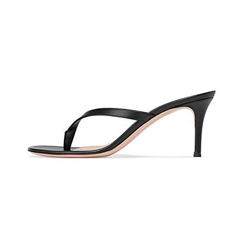 Sandalen T-Strap Stiletto Pumps Sexy Damen MWOOOK-915 Klassische Abendschuhe High Heel,Black,44