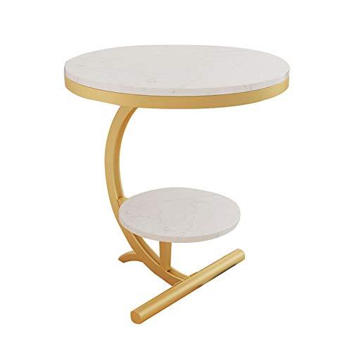 Table d'appoint ronde en marbre Table basse Canapé Table d'appoint Table de chevet de chambre à coucher Tablette à 2 étages (Couleur : Blanc)