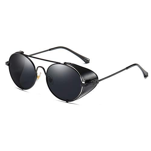 AMZTM Vintage Sonnenbrille Steampunk Stil Runder Metallrahmen für Frauen und Männer - Viktorianischen Double Bridge Brille mit Seitenschild(Schwarz Rahmen Graue Linse)