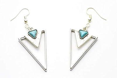Boucles d'oreille triangles bleu idée cadeau