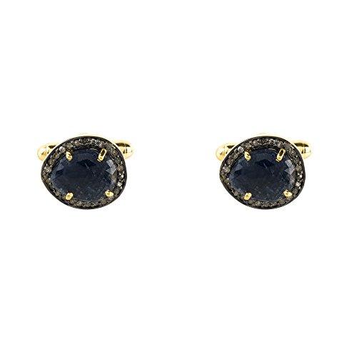 Sapphire Cufflink Gold Champagne Diamonds - Cut Gold Diamond