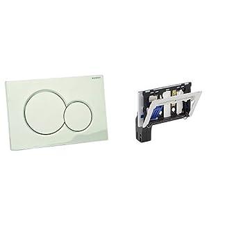 Geberit 115770465 Sigma01 – Interruptor diferencial  (2 tipos de descarga, cromada) + 115.610.00.1 – Accesorio para pastillas higiénicas para cisternas empotrada Sigma 12 cm