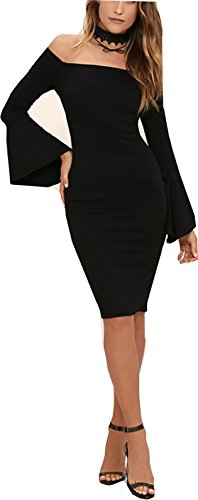 MAGICMK Frauen Schulterfrei Knielang Long Bell Sleeve Meerjungfrau Abend Bodycon Cocktail Party Verband Club Dress