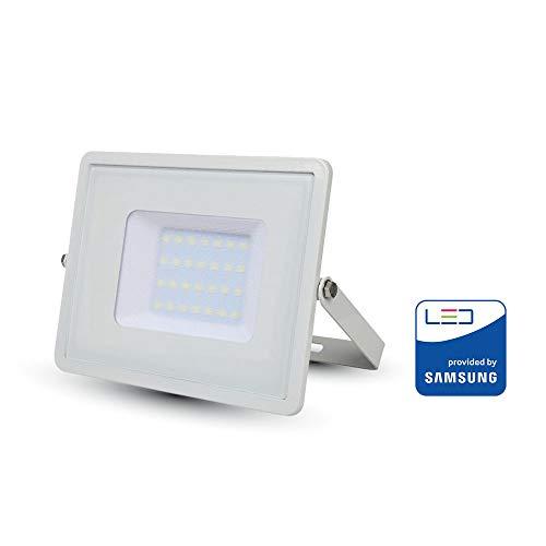 V-TAC 30W Wasserfester Fluter Outdoor Außenstrahler LED-strahler Weißes Gehäuse, Weißes Glas IP65 4000K Tagesweiß 2400 Lumen [Energieklasse A+] Tac Gläsern