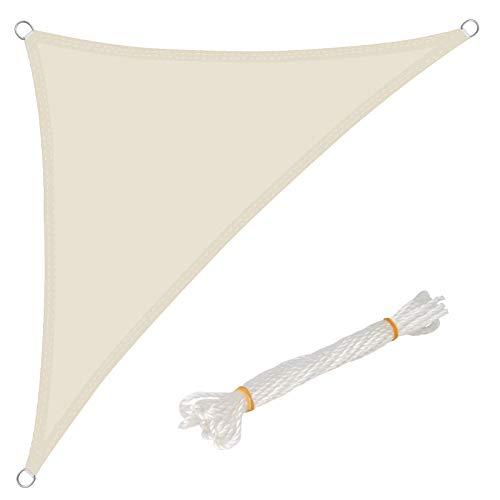 WOLTU Sonnensegel Dreieck 5x7x7m Creme wasserabweisend Sonnenschutz Polyester Windschutz mit UV Schutz für Garten Terrasse Camping - 7 Kleine Creme