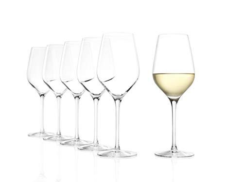 Stölzle Lausitz Exquisit Royal Weißweingläser, 420 ml, 6er Set, spülmaschinenfest: Hochwertige Weißweinkelche aus bruchsicherem Kristallglas, elegant und erlesen