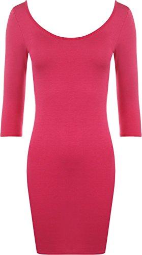 WearAll - Damen Bodycon Elastisch Kleid Rundhalsausschnitt Lange Top - Cerise - 40-42 (Zurück-jersey-kleid)