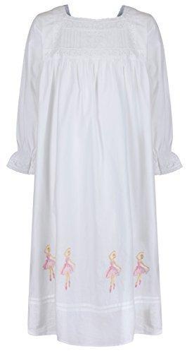 Perthe 1 for u 100% cotone ragazze camicia da notte ballerine camicia da notte 4-12 anni sophie - bianco, age 10-12