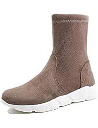 9e8438783335e Adong Mujer calcetín Botas Gamuza Antideslizante Resistente al Desgaste  Agarre Wild Lady Temperamento Botas de Nieve Zapatos Botas…