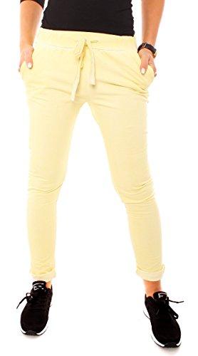 Easy Young Fashion Damen Vintage Sweat Jersey Sport Relax Hose Sweatpants Jogginghose Joggpants Jogger Lang Baumwolle Einfarbig Gelb XS - 34 (S) (Gelbe Sweatpants Frauen)