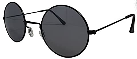 Men's Women's Black Oversize Round Lennon Style Sunglasses Cat 3 UV400 (Black)