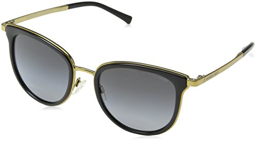 Michael Kors Damen ADRIANNA I 1100T3 54 Sonnenbrille, Black/Gold-Tone/Greypolarizedgradient,