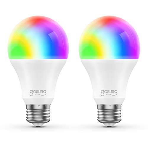 Smart LED-Lampe 2er Pack Gosund WLAN Mehrfarbige Dimmbare LED Glühbirne E27 2700 Kelvin 8W ersetzt 75 Watt, ohne Hub benötig, Kompatibel mit Alexa und Google Assistant, 800 Lumen, warmweiß -