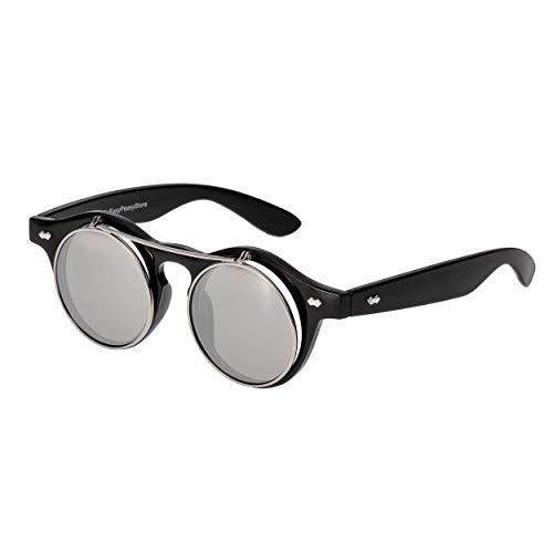 Ultra® Verspiegelte Gläser aus Schwarz Flip Up Kreis Premium Qualität Steampunk Brille Retro Frauen Männer Runde Rave Gothic Vintage Niet Viktorianischen Cyber Welding Cosplay UV400 Sonnenbrille