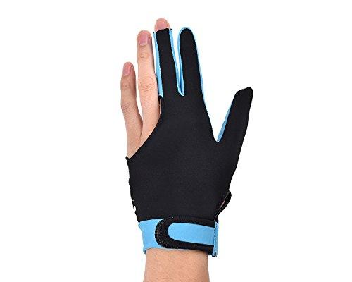 DSstyles 1 Stück Elastische Lycra 3 Fingers Pool und Billard Handschuh Mann Frau Stretchable Drei-Finger Snooker Handschuh - Himmelblau