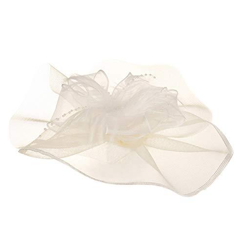 AZUO Hut Feder Mesh Net Schleier Partyhut Ascot Hüte Blume Derby Hut mit Clip und Hairband für Frauen,02