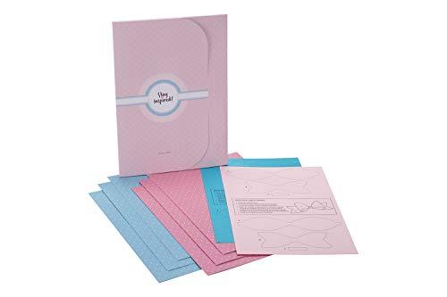 Geschenkpapier 6 Bögen A2: Edel, hochwertiges Geschenkpapier, Packpapier, Bastelpapier. Geschenkverpackung Set für jeden Anlass blau & rosa ... - inkl. 2 Bastelschleifen zum Verpacken