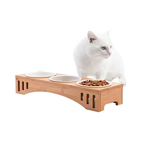 Petacc Katzennäpf Hundenäpf Keramik Hoch Futternäpfe für Katzen und Welpe mit Bambus Ständer (46*15.5*7cm) (Schüssel Katze Erhöhten)