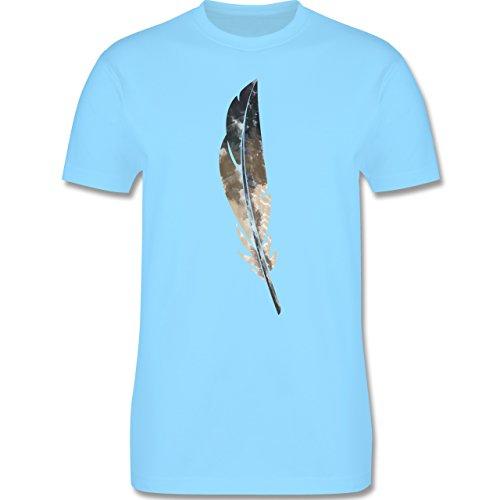 Statement Shirts - Wasserfarben Feder - Herren Premium T-Shirt Hellblau