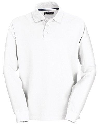 Herren Polohemd Langarm 100% Baumwolle 3 Knöpfe Polo Men's Long-Sleeve White