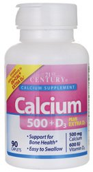 Calcium 500 + D3 Plus Extra D3 *Compare to Os-Cal Extra D3* by 21st Century Vitamins -