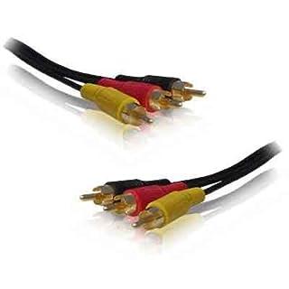 Aptii Audio-Verlängerungskabel (3-fach 3x Cinch-Stecker, vergoldet, Phono, Audio, Video, 15m
