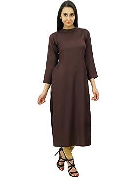 Bimba mujeres de la manga llena kurta staright indio Kurti rayón étnicos llanura larga túnica blusa