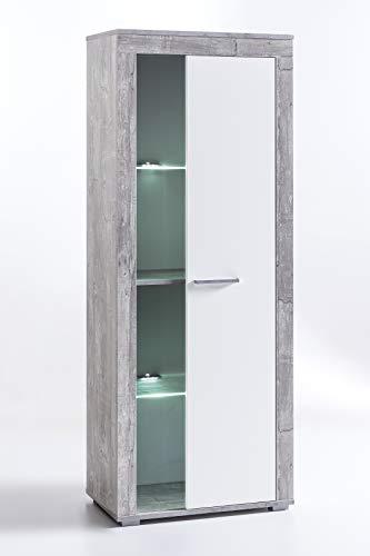 9.9.8.2946: Serie AWBW – Vitrine – Vitrinenschrank – weiss-grau gescheckt dekor – Glasvitrine – 1 Tür mit Glas - 2